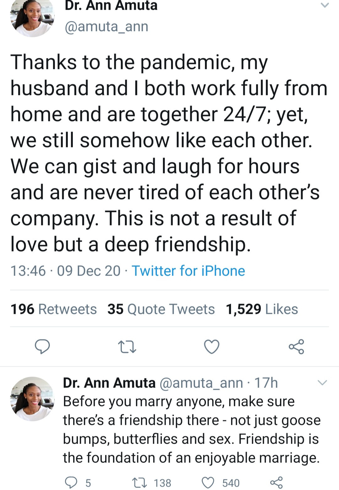 Assistant professor, Dr Ann Amuta reiterates the importance of friendship as the foundation for an enjoyable marriage