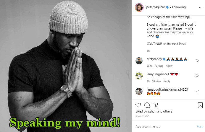 Blood is thicker than water! My wife and children, are they the water or Zobo? - Peter Okoye asks fans asking him to settle with his brothers