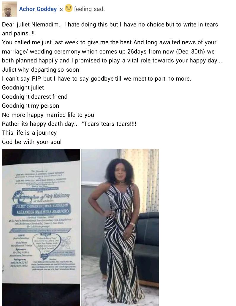 Nigerian woman dies days to her wedding