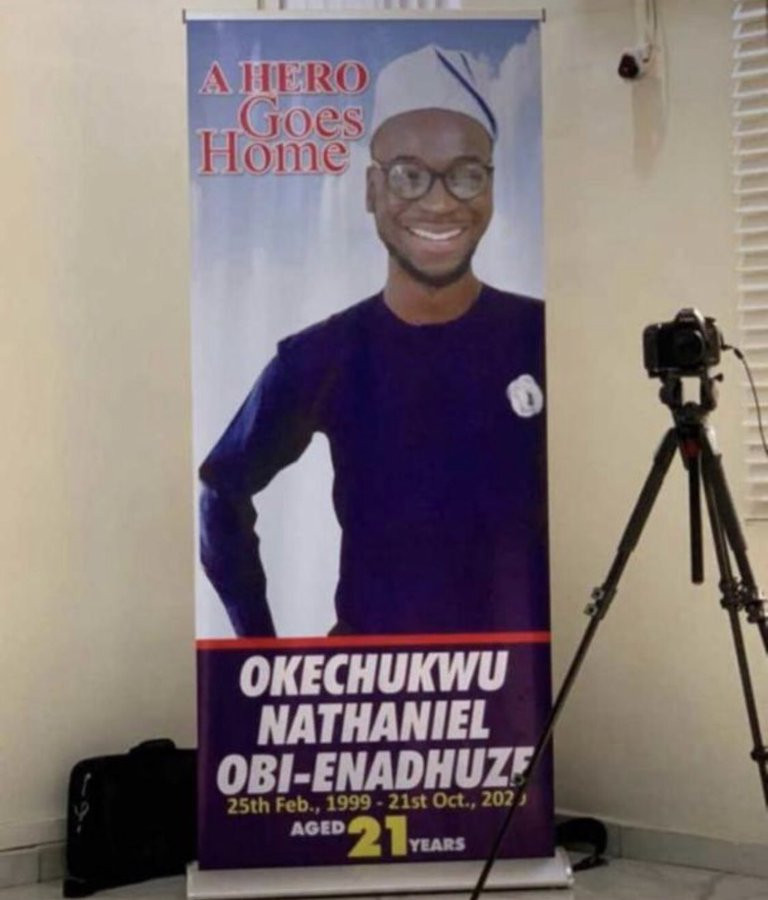 """#EndSARS?protester, Oke, who was stabbed to death in Lagos 3 hours after tweeting """"Nigeria will not end me,"""", has been laid to rest (photos/video)"""
