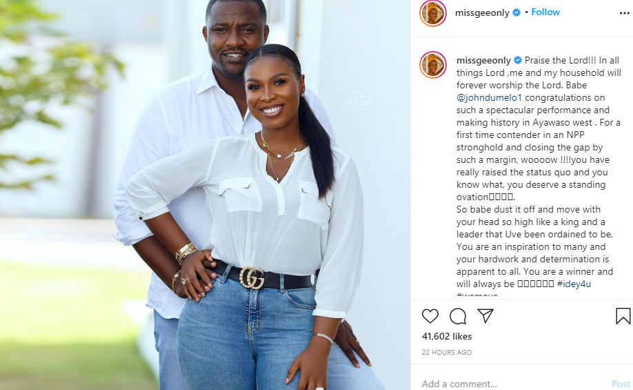 You are a winner and will always b e- John Dumelo?s wife writes comforting message to him after he lost out on being elected as a Ghanaian parliament member