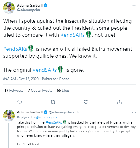 #EndSARS is a failed Biafra movement supported by gullible ones - Adamu Garba says