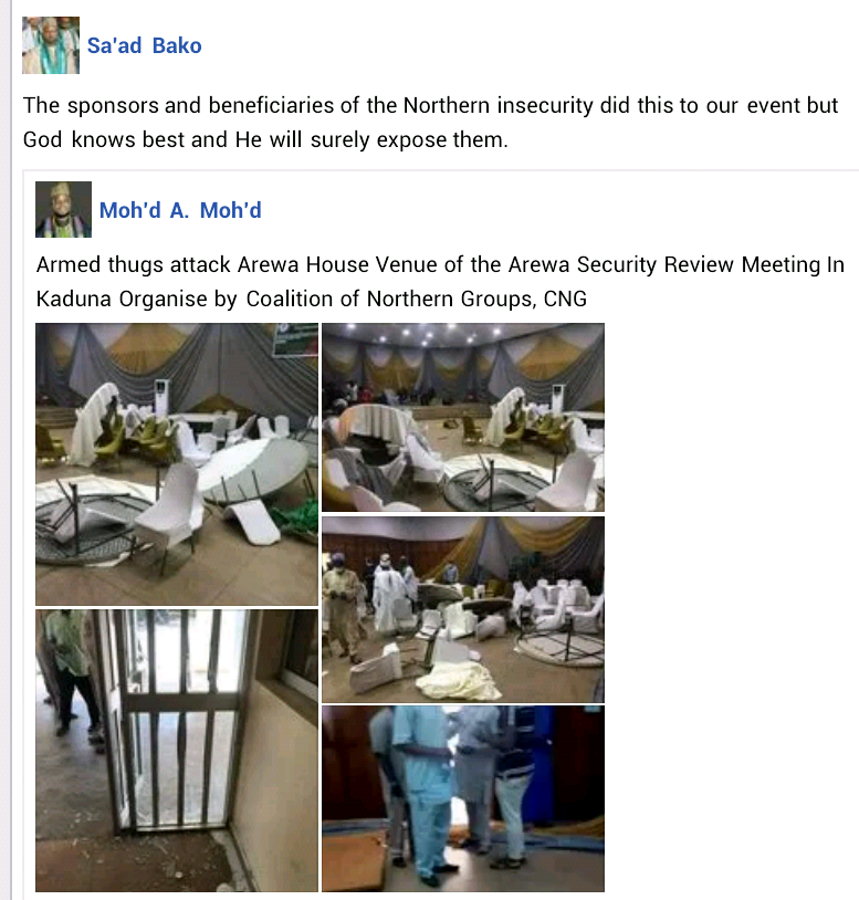 Armed thugs disrupt security review meeting organized by Coalition of Northern Groups in Kaduna