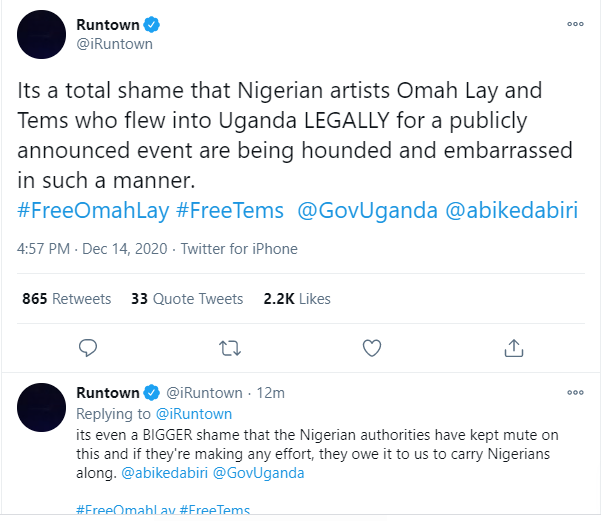 Runtown, Burna Boy and others call for the release of Omah Lay and Tems following news they have been remanded in prisons for flouting COVID-19 guidelines in Uganda