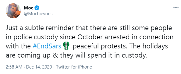 There are still some people in police custody since October arrested in connection with peaceful #EndSARS protests - #EndSARS frontliner, Modupe Odele says