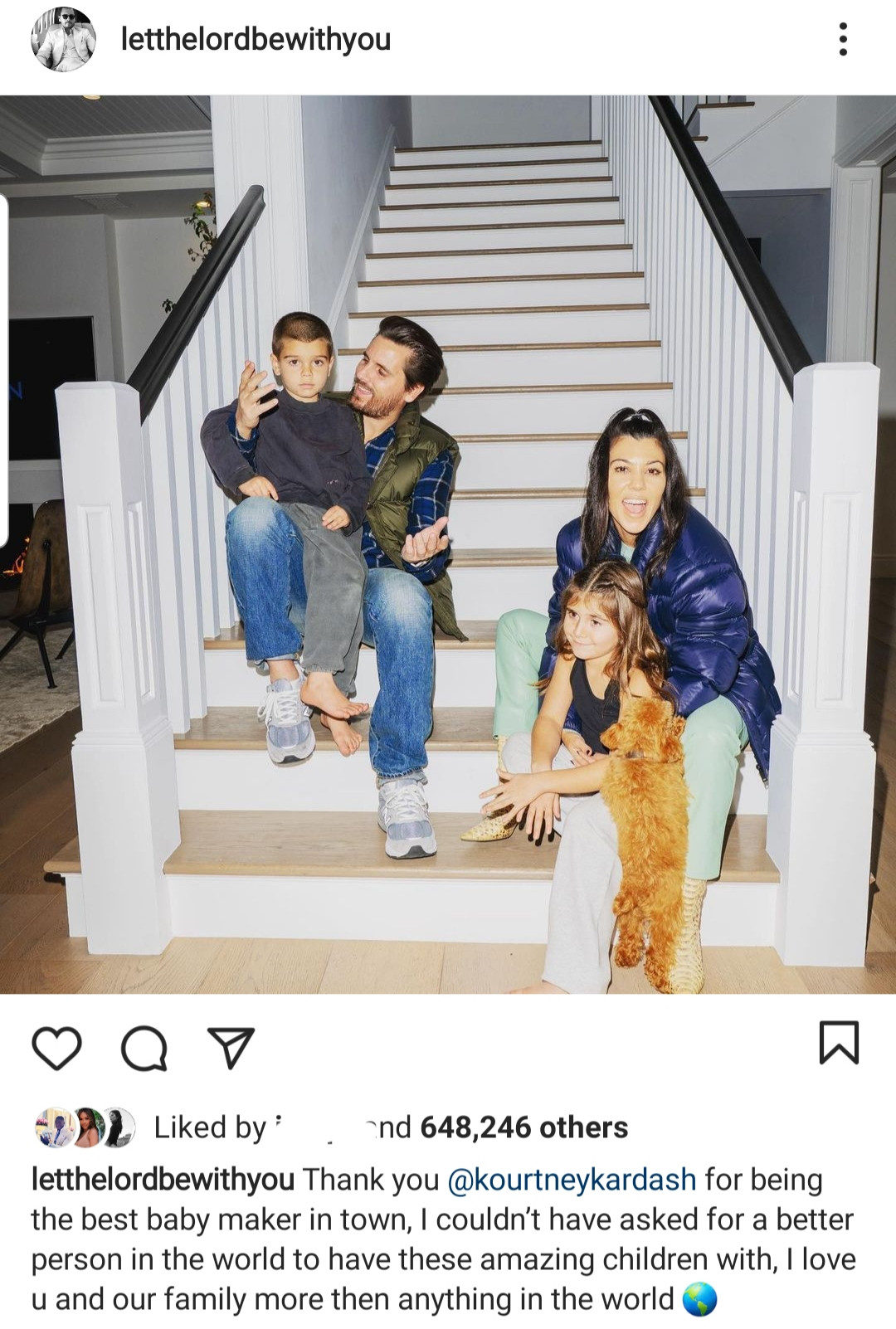 "Scott Disick calls Kourtney Kardashian the ""best baby maker in town"" as he declares his love for her and the family they"