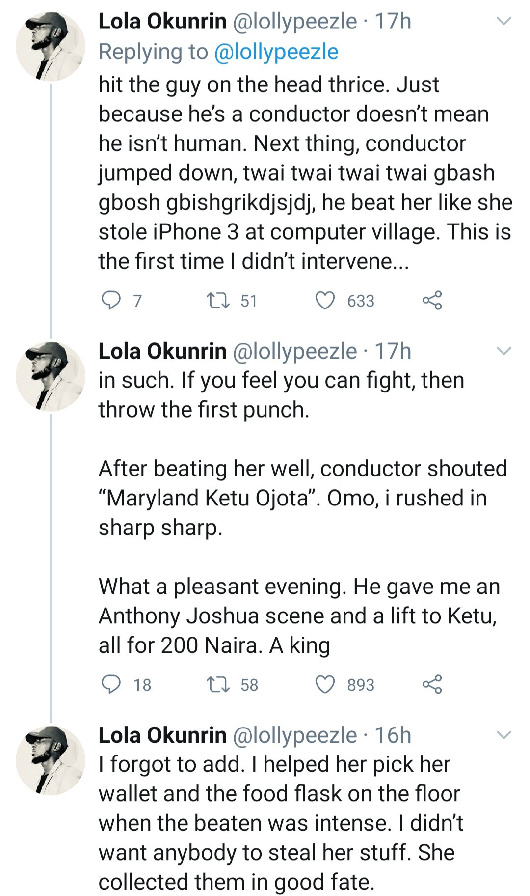Twitter Stories: Passersby allegedly stand by and do nothing as conductor beats up a female passenger who threw the first punch