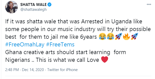 If I was arrested in Uganda, some people in Ghanaian music industry will try their possible best to get me jailed for 6 years - Shatta Wale