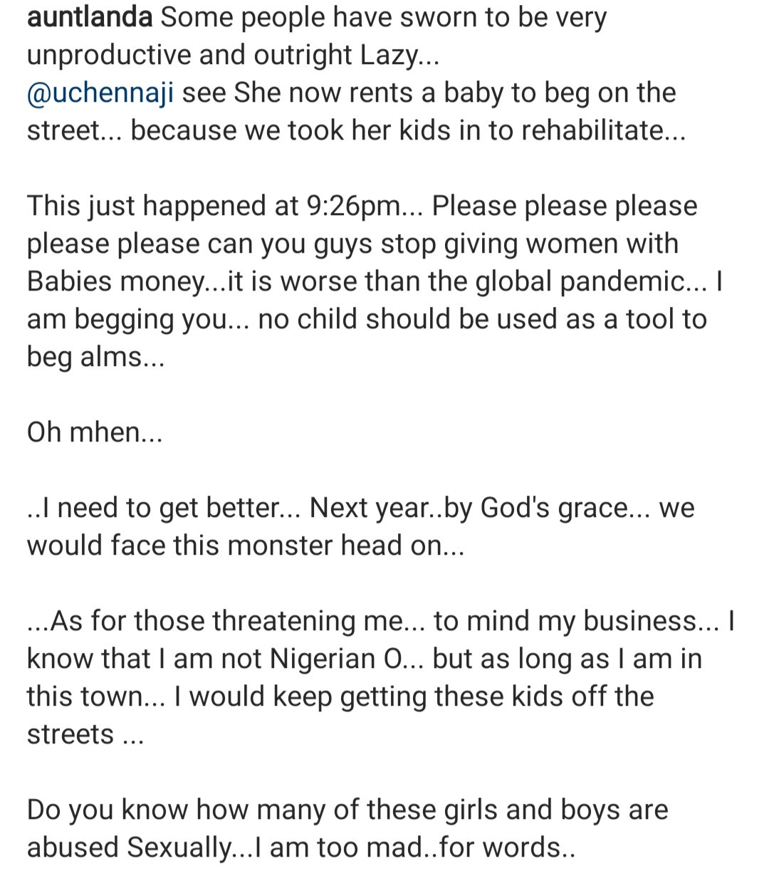 OAP Aunt Landa exposes a street beggar who rented a baby to beg with (video)