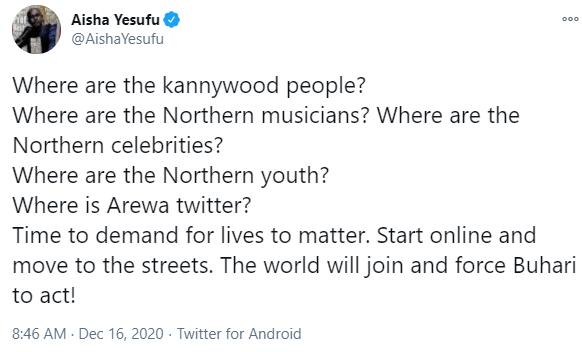 """Force Buhari to act"" Aisha Yesufu calls on Northern celebrities to demand for"
