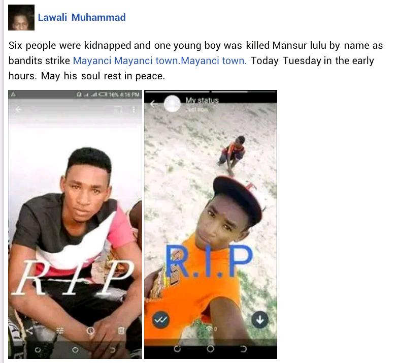Bandits kill young man in Zamfara, reportedly kidnap 6