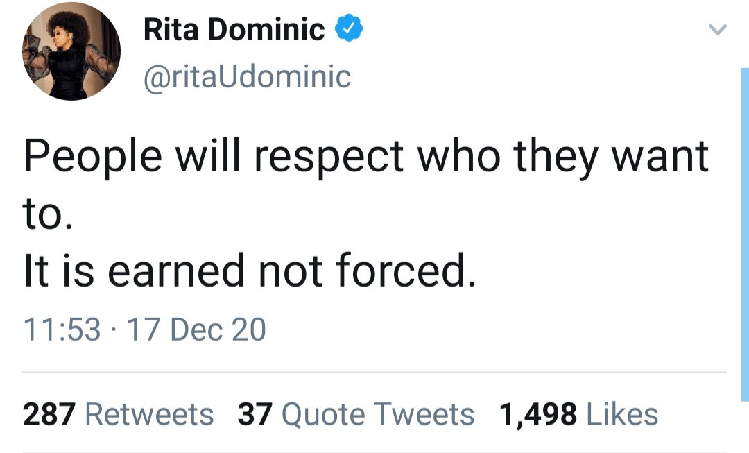 Rita Dominic sets straight a follower who misunderstood her post