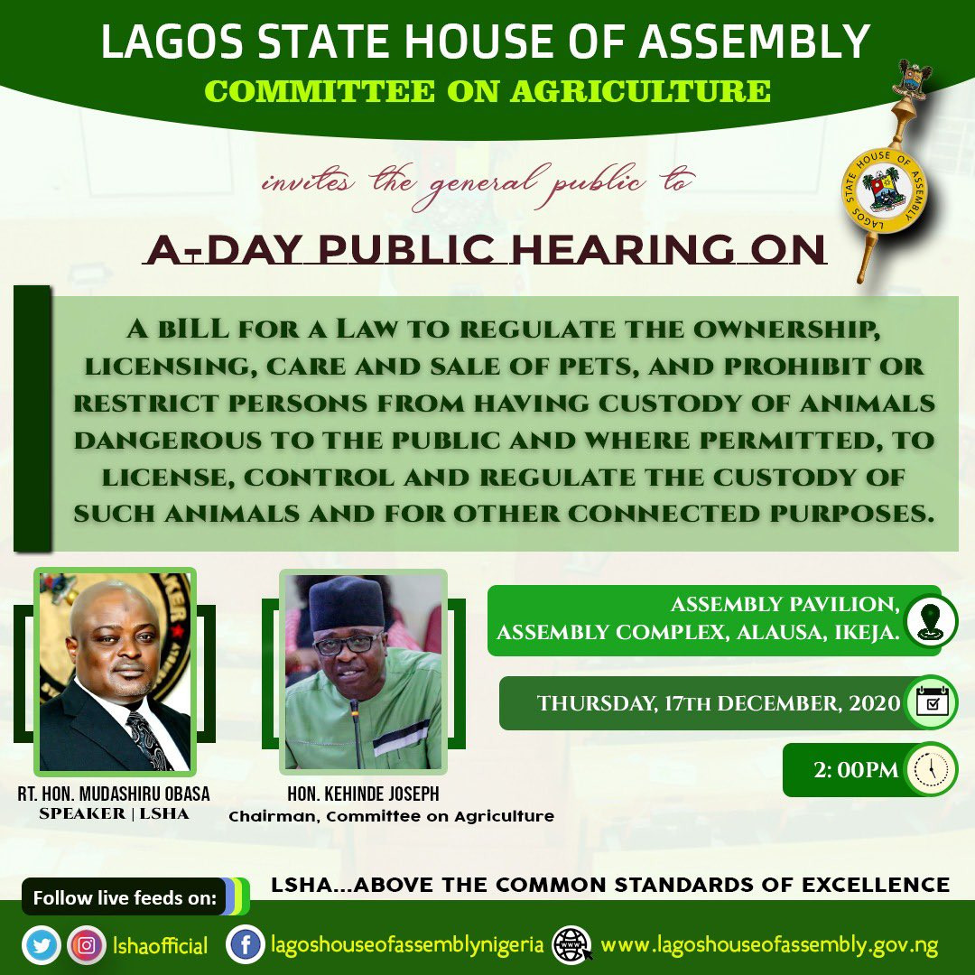 Lagos Assembly wants to pass a bill to regulate ownership of pets