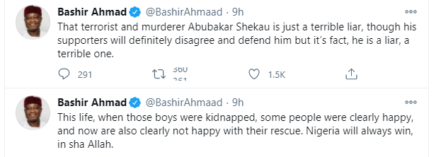 Some people were clearly happy with the kidnap of Kankara schoolboys and now are also clearly not happy with their rescue - Presidential aide, Bashir Ahmad