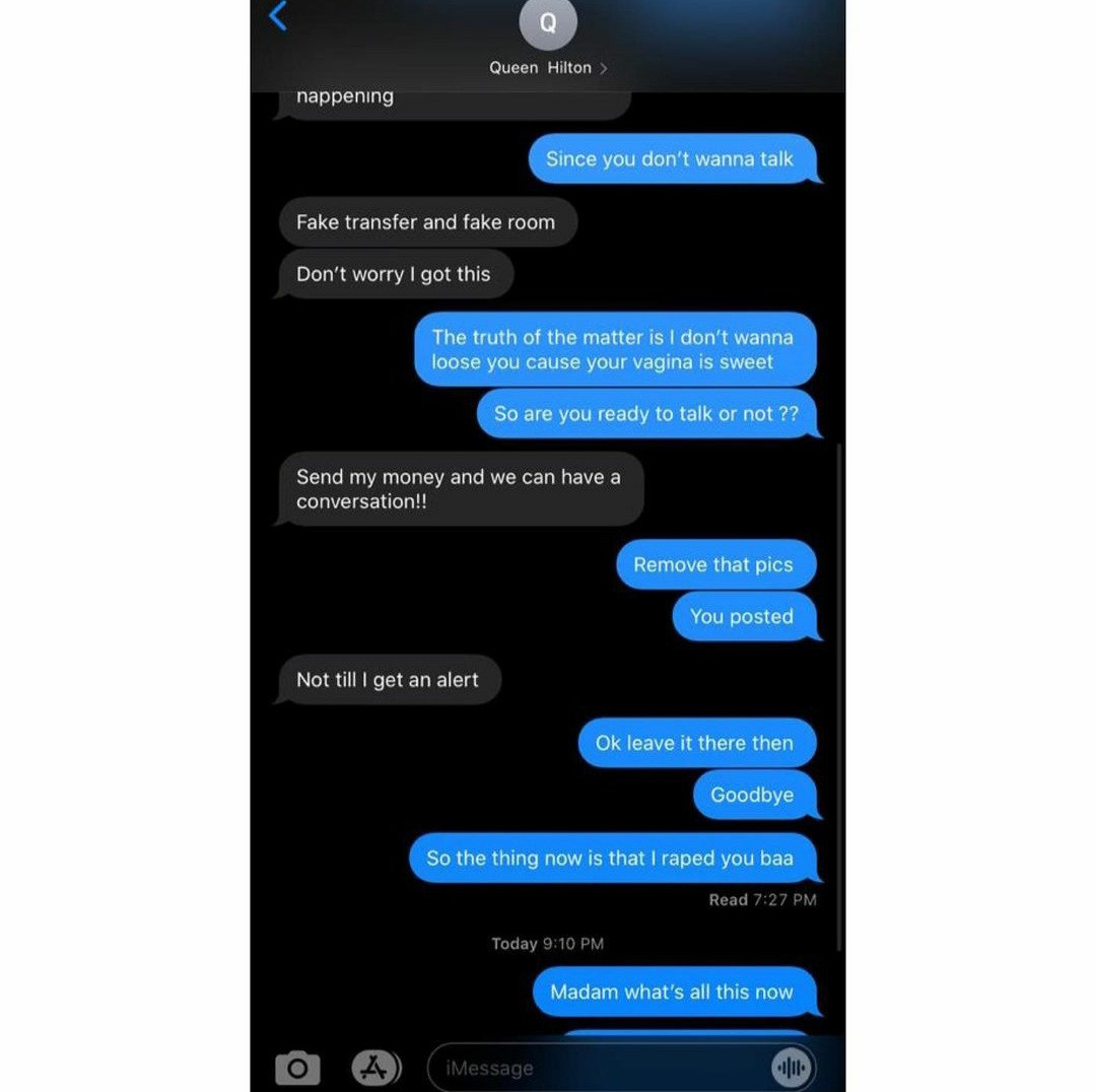 Leaked chat shows singer Queency Benna threatening man named Obi after she wasn