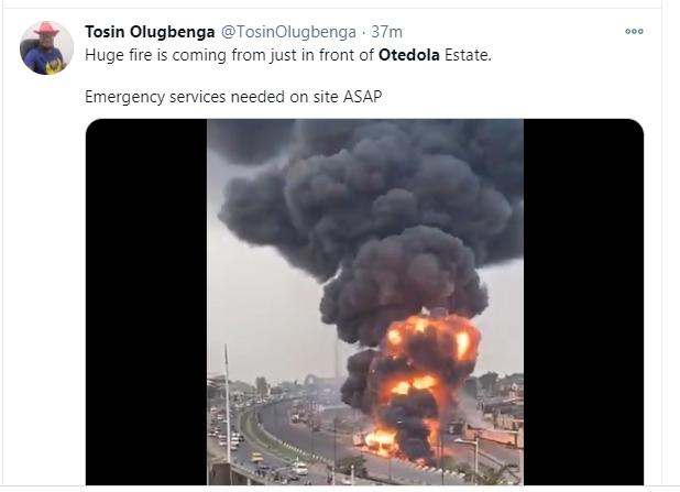 Fuel tanker explodes at Otedola Bridge in Lagos (video)