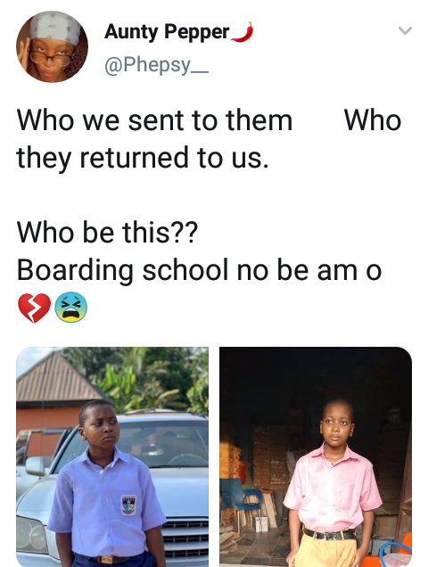 """Who we sent vs who they returned to us""""- Nigerian lady expresses shock over  her brother's weight loss after 2 months at boarding school"""