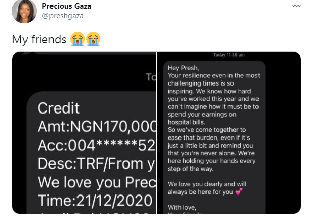 Nigerian lady reveals what her friends did for her after she spent her earnings on hospital bill