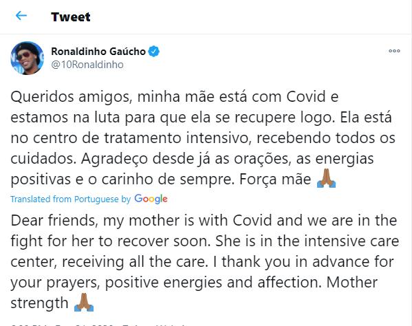 Football legend, Ronaldinho?s mum, 71, fighting for life in intensive care after contracting coronavirus