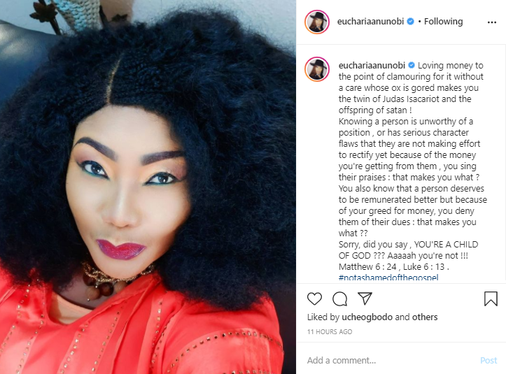 You?re a child of Satan if you love money without a care whose ox is gored - Actress Eucharia Anunobi