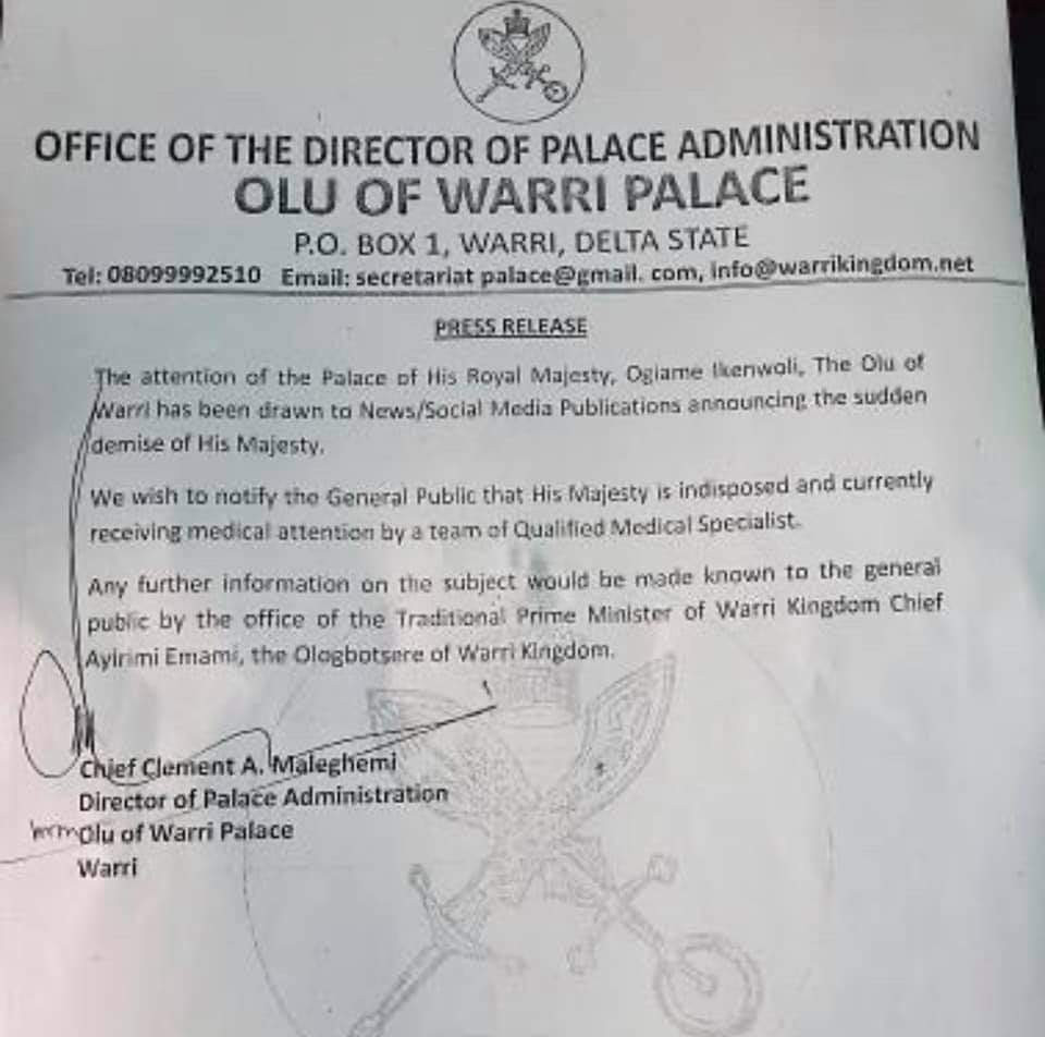 Olu of Warri is indisposed and receiving medical care ? Palace director says