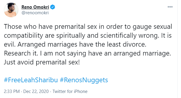 Arranged marriages have the least divorce - Reno Omokri