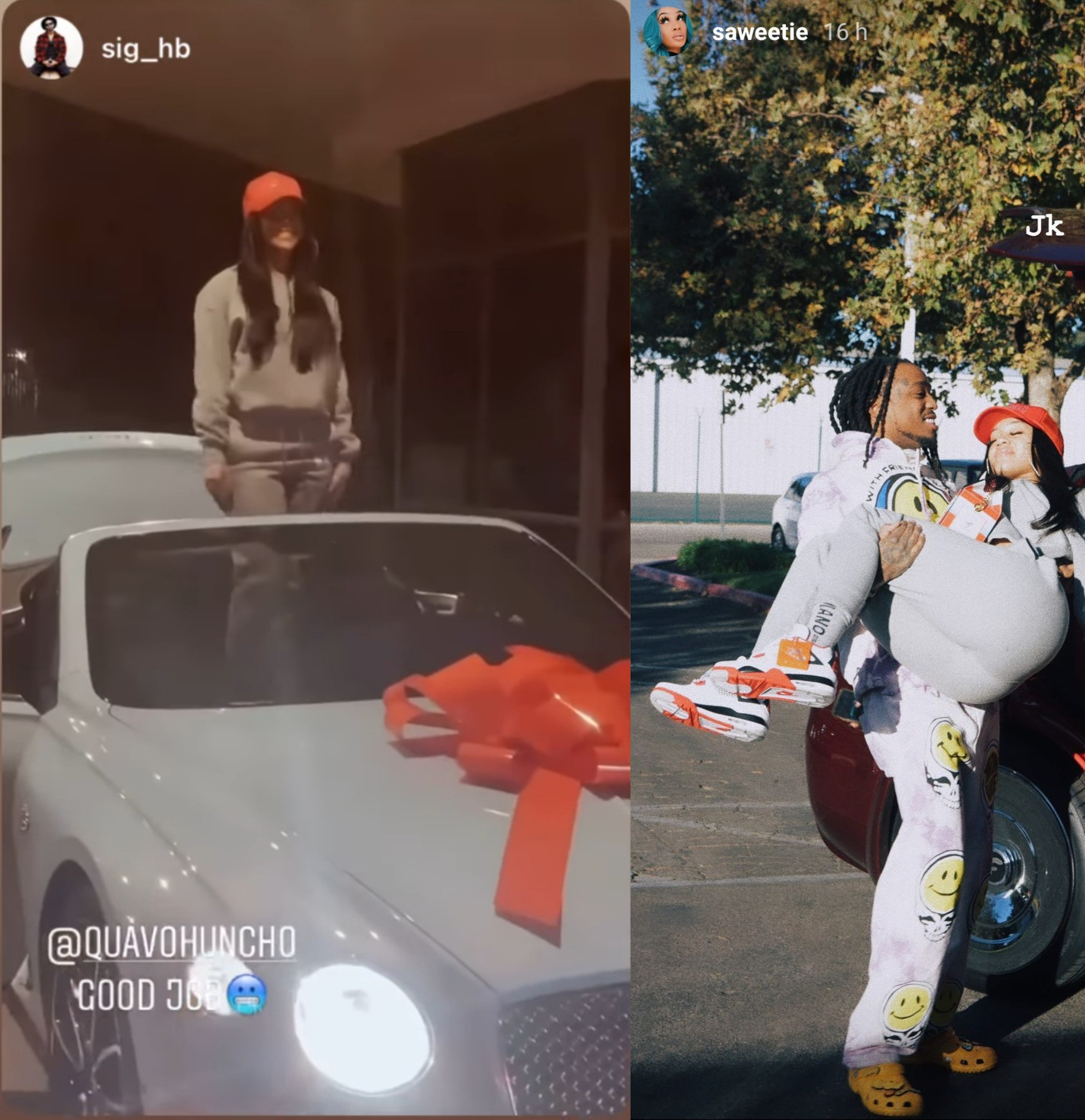 Migos rapper, Quavo gifts girlfriend Saweetie a Bentley for Christmas (video)