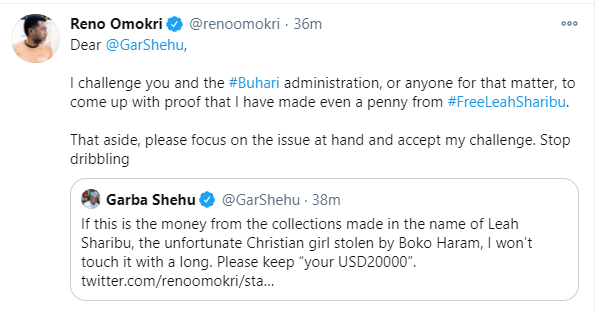 Presidential spokesperson, Garba Shehu reacts after Reno Omokri challenged him to stay a night without security in Koshobe or Kware without security for $20,000
