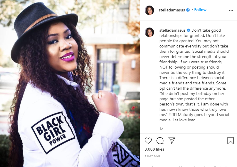 Social media should never determine the strength of friendship - Stella Damasus