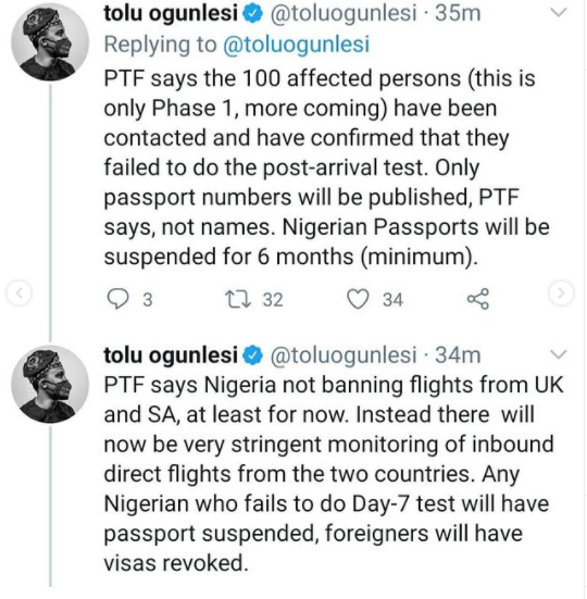 FG to publish passport details of travelers who evaded COVID test, says it will not be banning flights from UK and SA