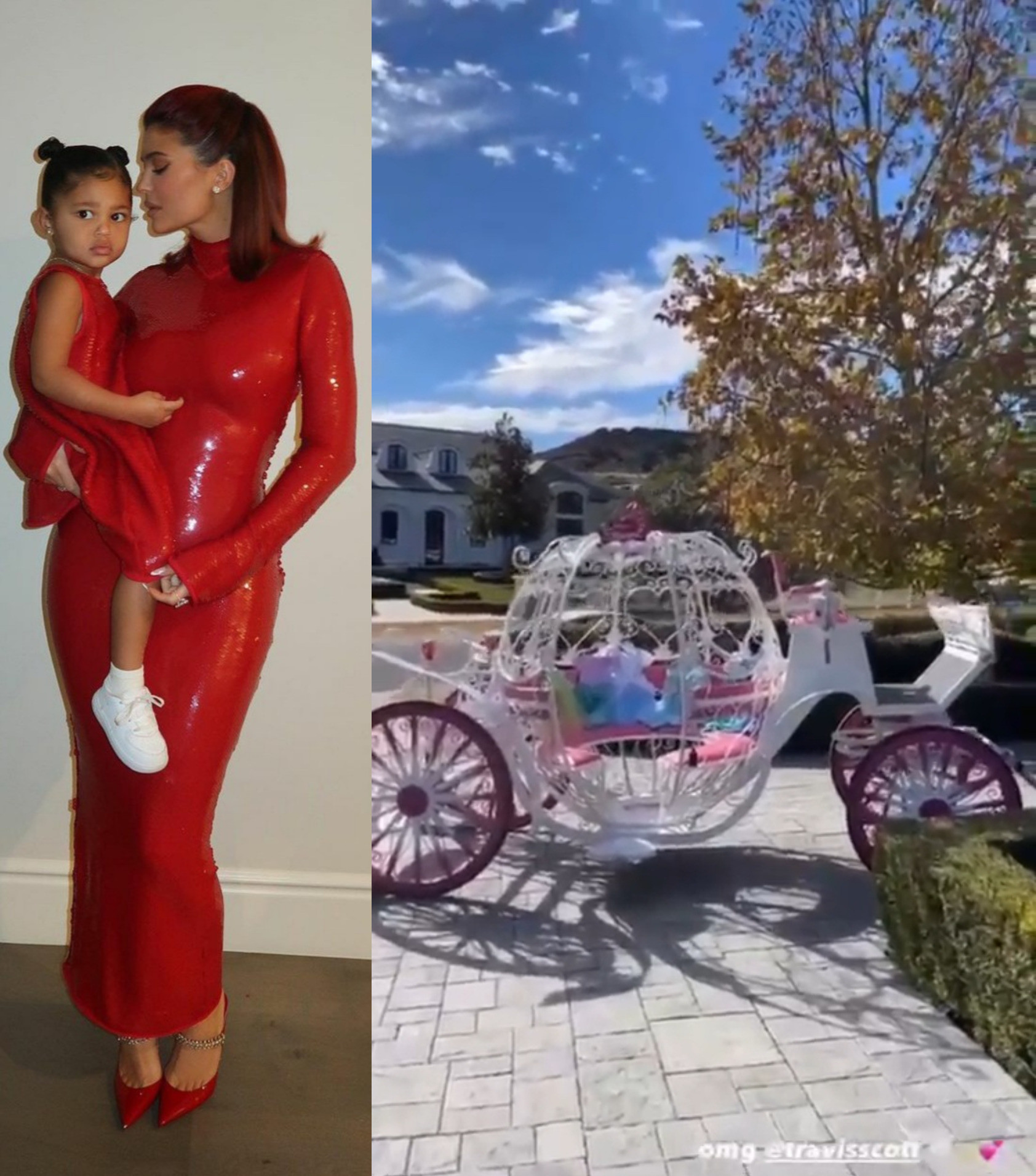Travis Scott gifts Stormi a Cinderella carriage filled with dresses for Christmas (video)