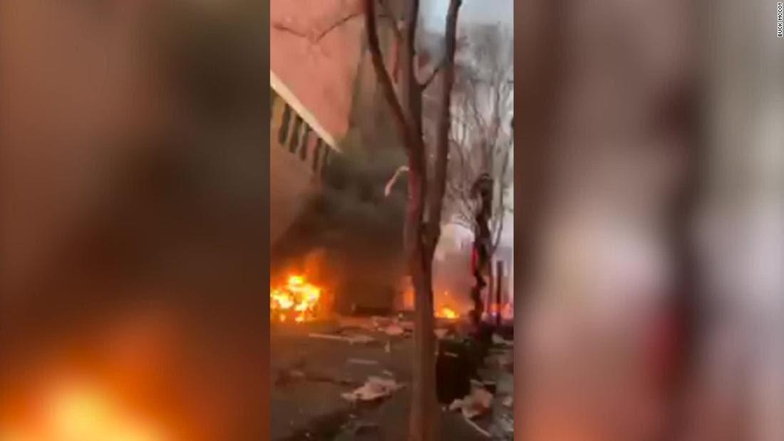 Moment van explodes in Nashville leaving many injured (video)