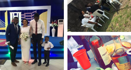 Nigerians react as couple holds their wedding reception with 7 guests under one canopy at a backyard (photos)