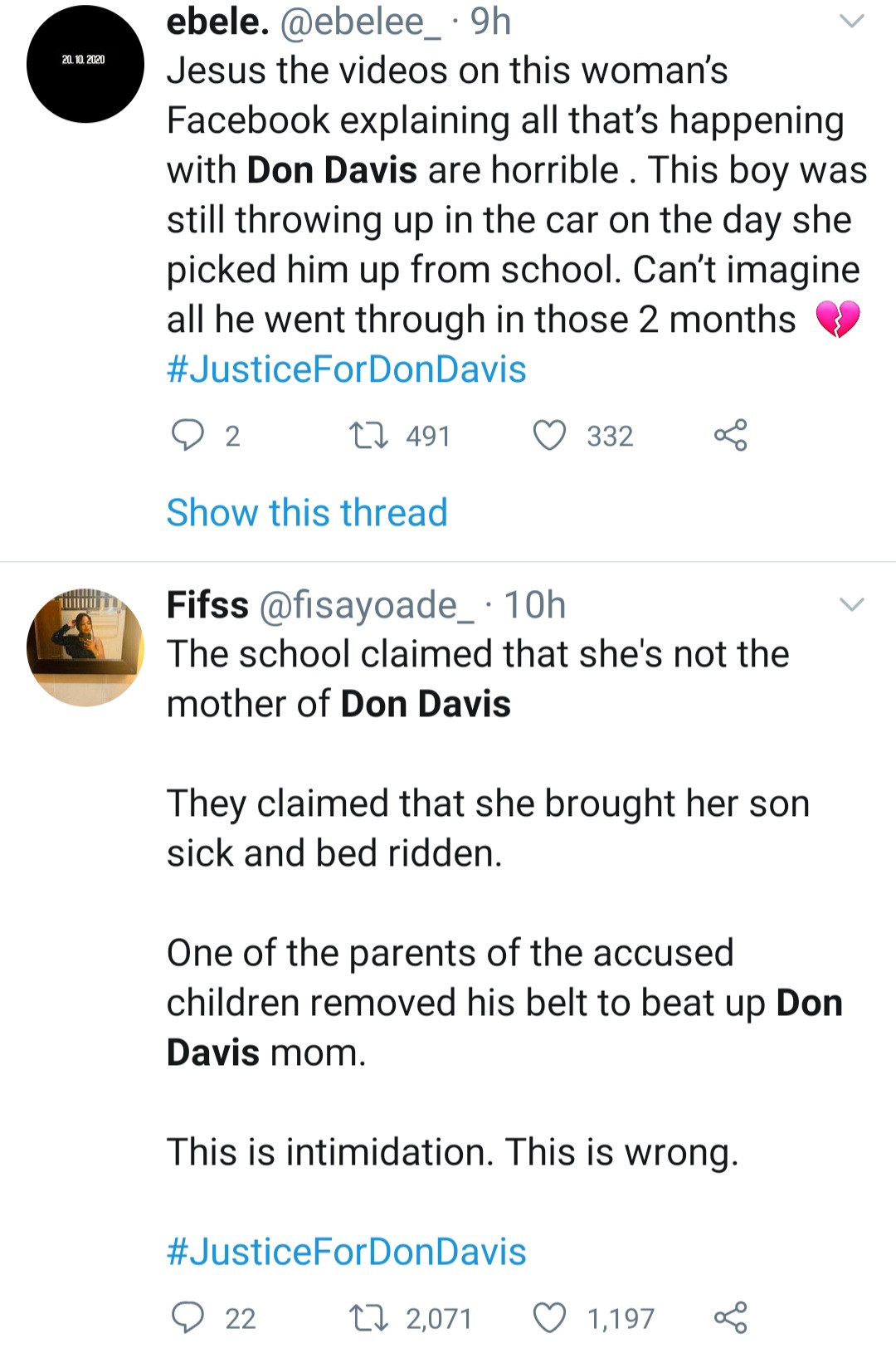 #JusticeForDonDavis trends as mother of boy allegedly molested in Deeper life school reveals he