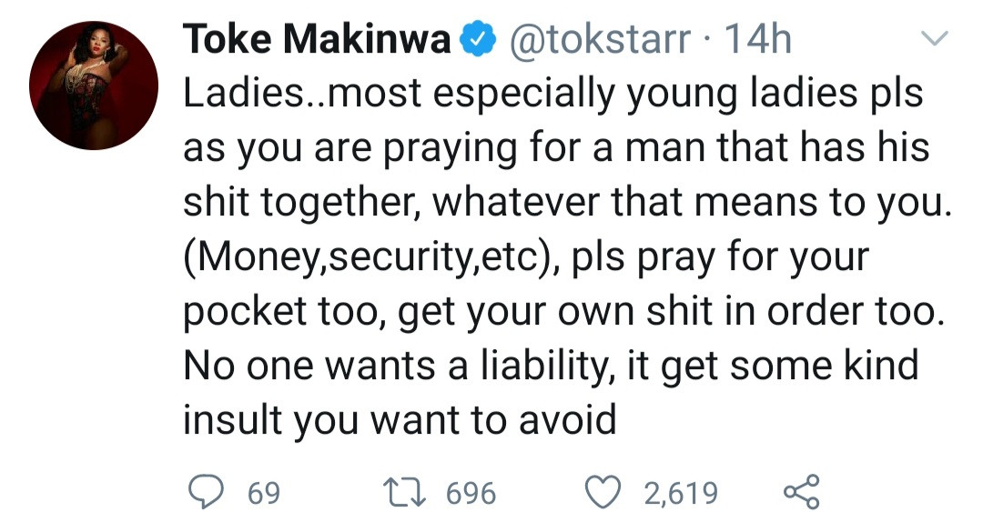 Toke Makinwa explains why women need to make their own money while praying for a man