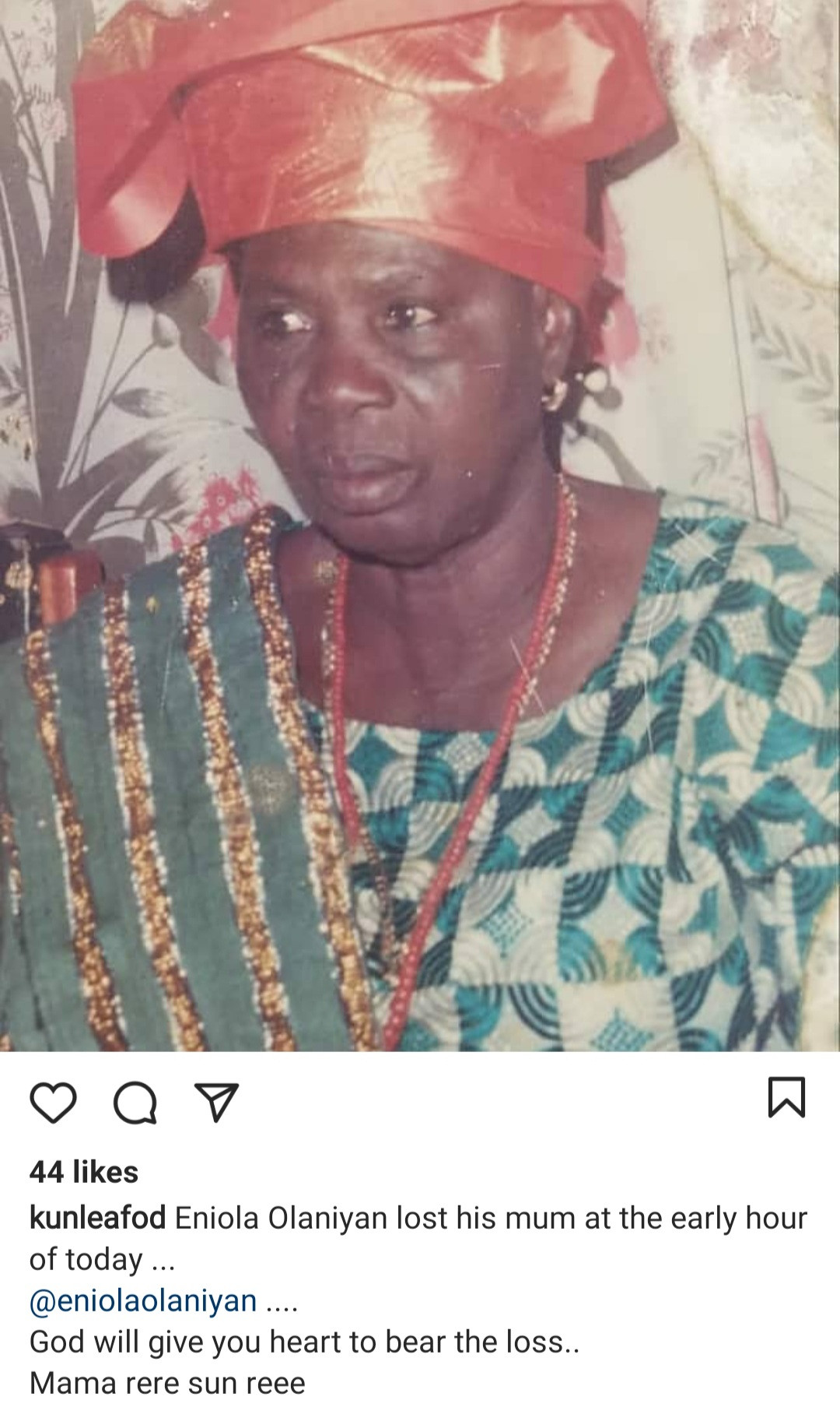 Actor Eniola Olaniyan loses his mum