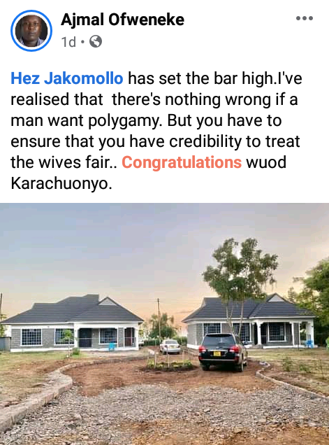 """Polygamy is good when you can treat them fair and equal"" - Kenyans react as man builds identical houses in same compound for his two wives"