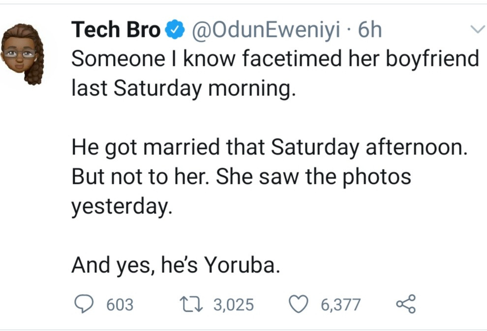 Girlfriend finds out online her boyfriend had married someone else hours after they spoke on FaceTime, PiggyVest co-founder Odun Ewniyi narrates