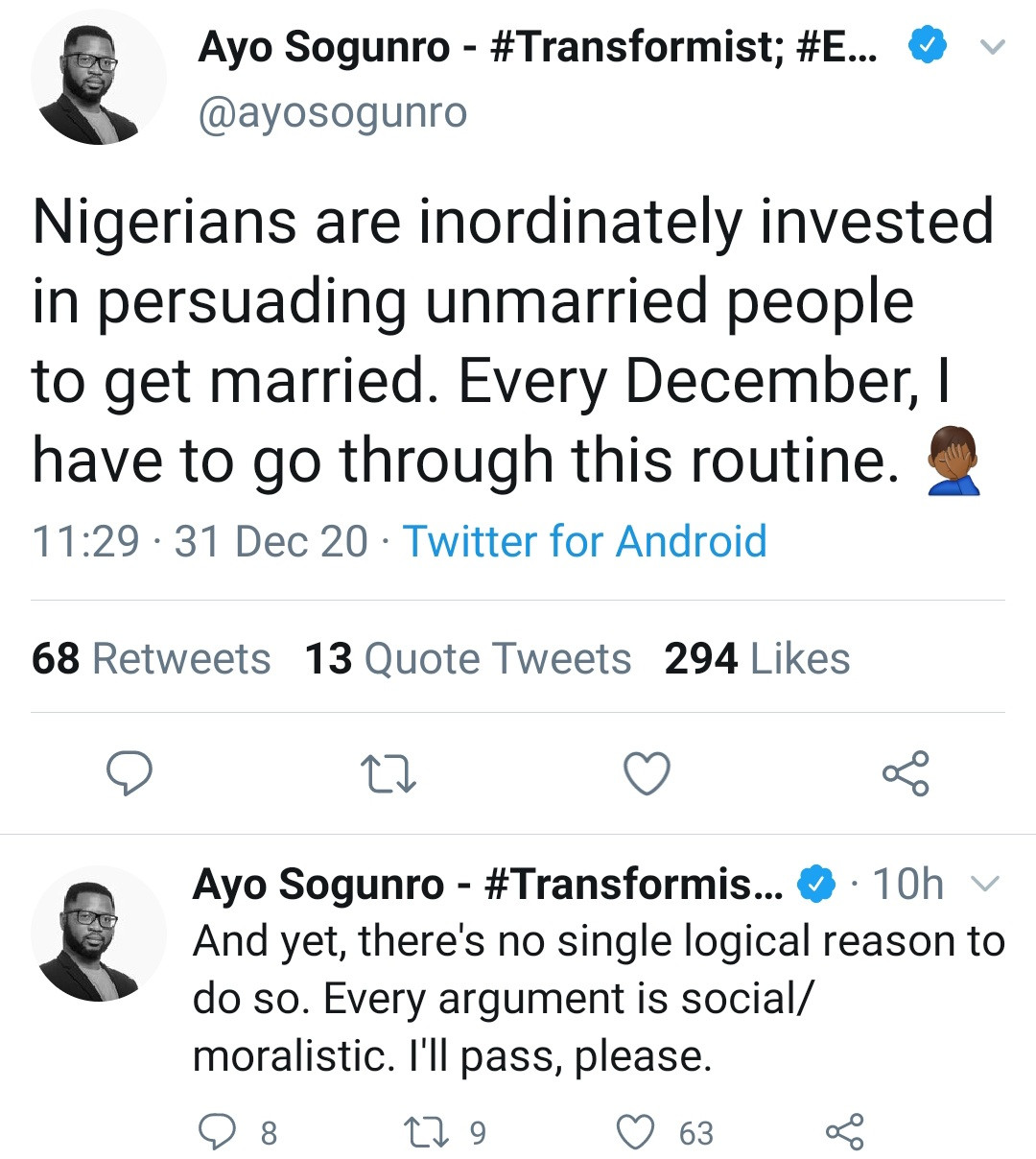 """""""There is no single logical reason to get married"""" Writer Ayo Sogunro says"""