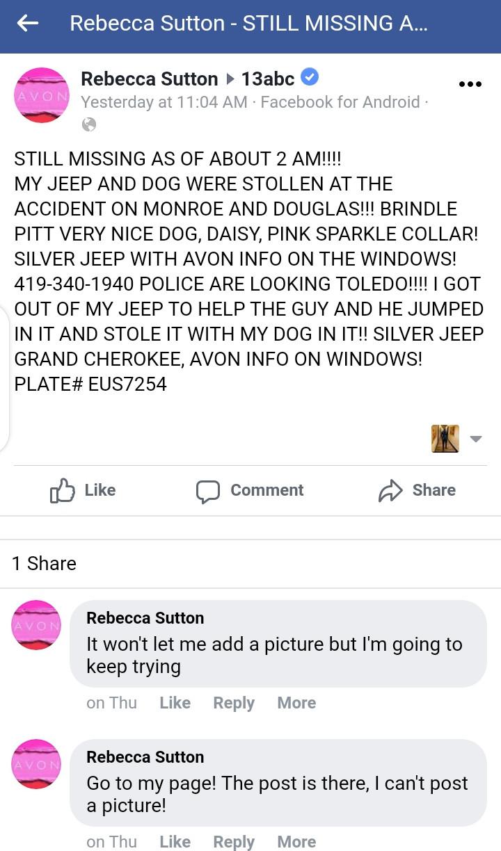 Good Samaritan?s car and dog stolen by crash victim she went to help