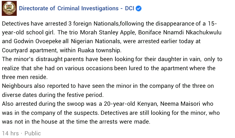Three Nigerian nationals arrested in Kenya over the disappearance of a 15-year-old girl