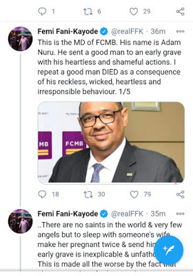 I never slept with anyone wife and sent them to an early grave - Femi Fani-Kayode fires back at critic who called him out over his comment about FCMB MD