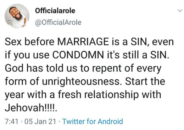 Sex before marriage is a sin even if you use condom-comedian Arole says