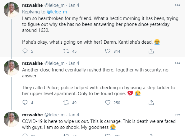 Twitter stories: Lady who was isolating after testing positive for COVID19 found dead in her apartment
