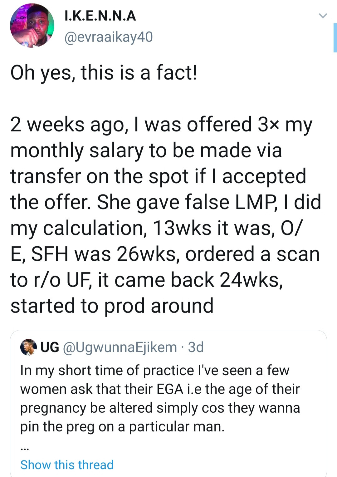 Doctor claims woman offered him triple his salary to lie about the age of her pregnancy so she could pin it on a richer man