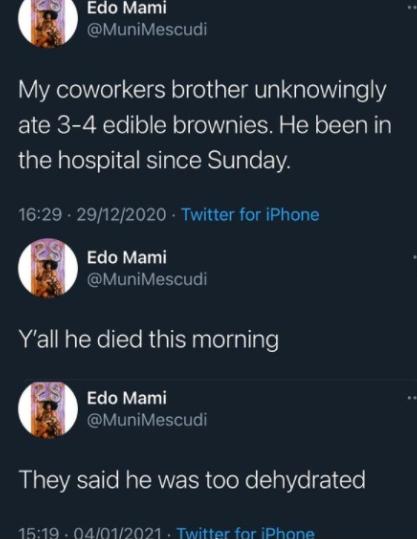 Man dies after unknowingly eating brownies
