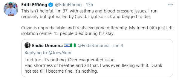 I got nailed by COVID-19, I got so sick and begged to die - IT expert, Editi Effiong recounts
