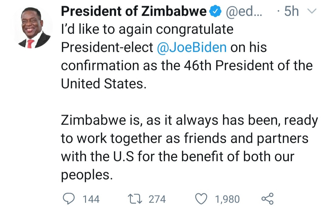"""The U.S. has no moral right to punish another nation under the guise of upholding democracy"" Zimbabwe President Emmerson Dambudzo Mnangagwa reacts to violence in US"