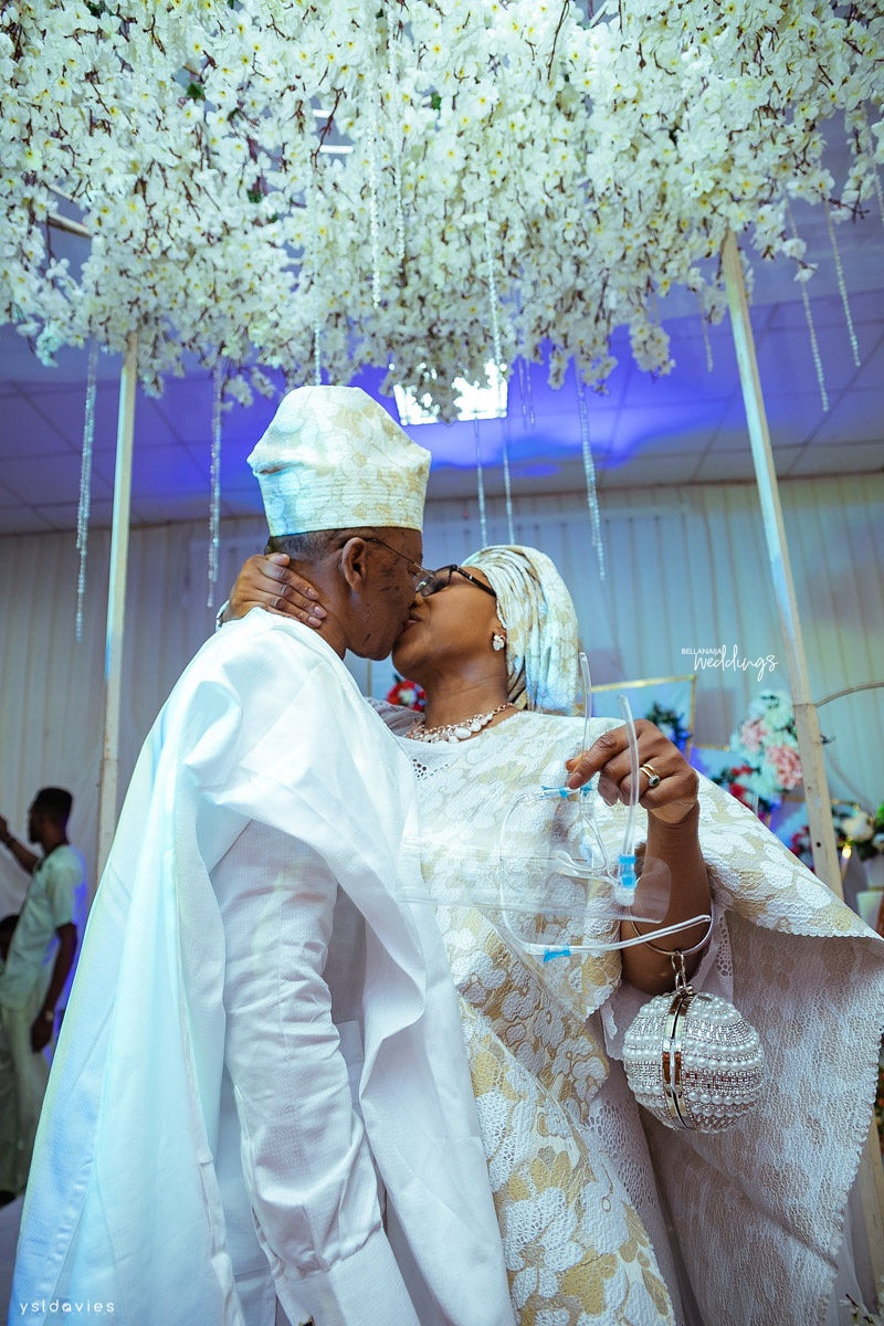 Nigerian divorcee who is in her 50s gets hitched to the love of her life, a widower in his sixties (photos/video)