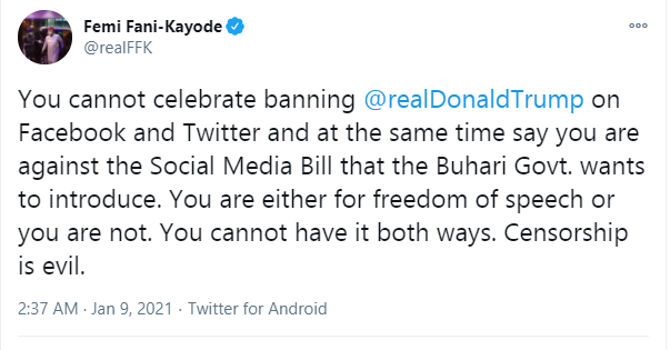 You cannot celebrate banning of President Trump on Facebook and Twitter and at the same time say you are against Buhari's govt Social Media Bill - FFK lindaikejisblog 1